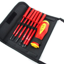Load image into Gallery viewer, Hi-Spec 8pc VDE 1000V Approved  Insulated Electrician Tool Set S2 Magnetic Screwdriver Set  Tester Electric Tape Cutting Pliers