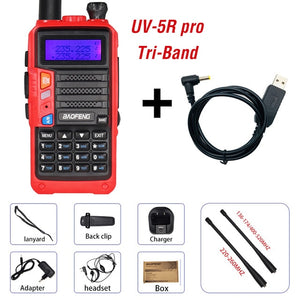 2020 Baofeng UV-5R Pro Walkie Talkie Tri-Band Two Way Radio 8W High Power Portable CB Ham Radio HF FM Transceiver Upgrade UV 5R