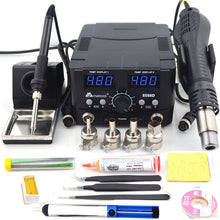 Load image into Gallery viewer, 2 IN 1 800W LED Digital Soldering Station Hot Air Gun Rework Station Electric Soldering Iron For Phone PCB IC SMD BGA Welding