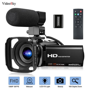 Video Camera Camcorder with Microphone FHD 1080P 30FPS 24MP Vlogging YouTube Cameras 16X Digital Zoom Camcorder Webcam Recorder