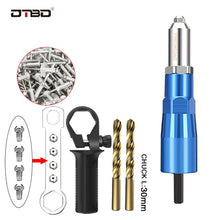 Load image into Gallery viewer, Electric Rivet Gun 2.4mm-4.8mm rivet nut drill adapter riveting tool Insert Nut Tool with 50PC rivet