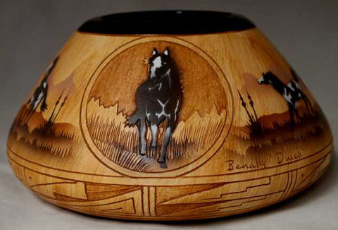 Authentic Navajo Etched Collector Piece by James Benally