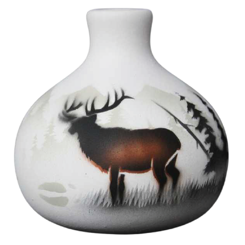 High Country Tracks Elk 3 1/2 x 3 1/2 Ball Vase -(63083)