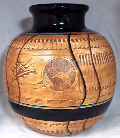 Authentic Navajo Etched Collector Piece by Dwayne Blackhorse
