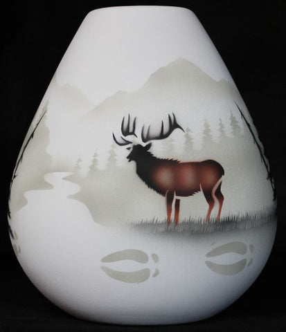 High Country Tracks Elk 8 1/2 x 9 Pillow Vase -(63100)