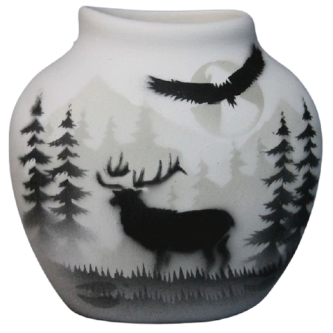 High Country Tracks Elk 3 x 3 Pillow Vase -(63141)