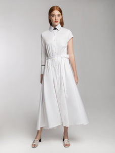 White Shirt Dress with one long and one short Sleeve and Black Details
