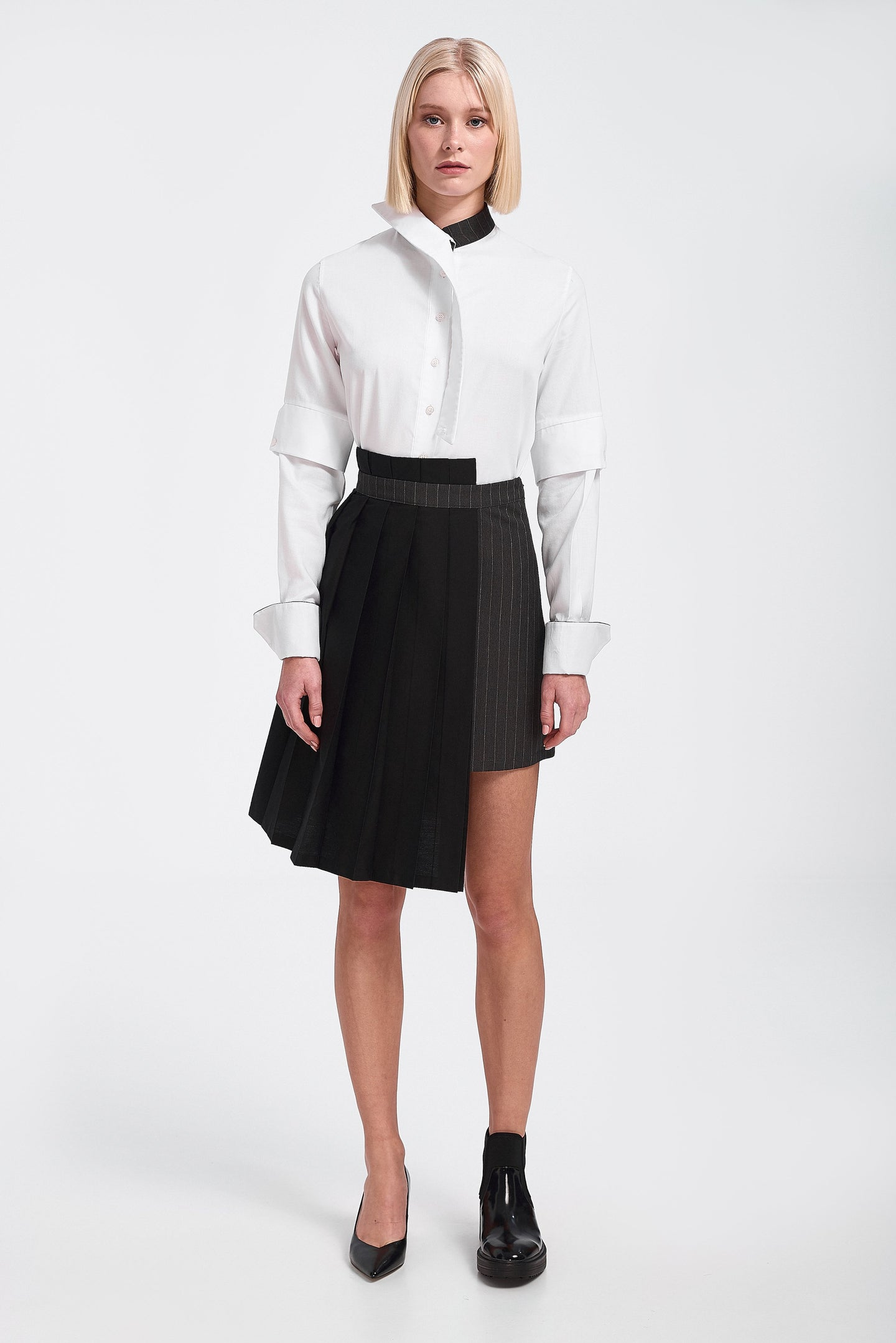 Skirt, half pleated asymmetric