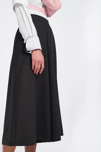 Grey Wide Leg Trousers, Half Pleated