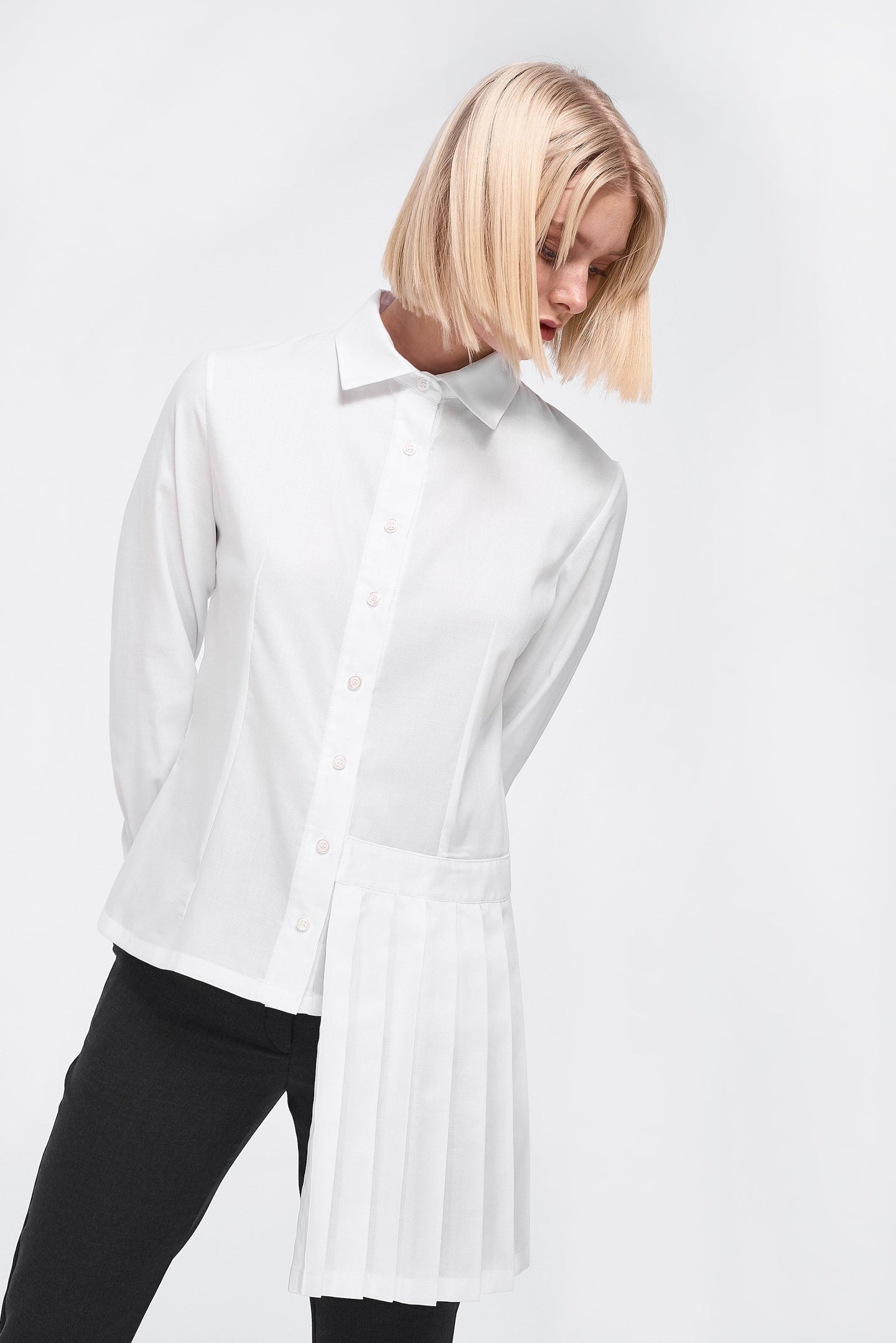 Shirt with pleated panel in White
