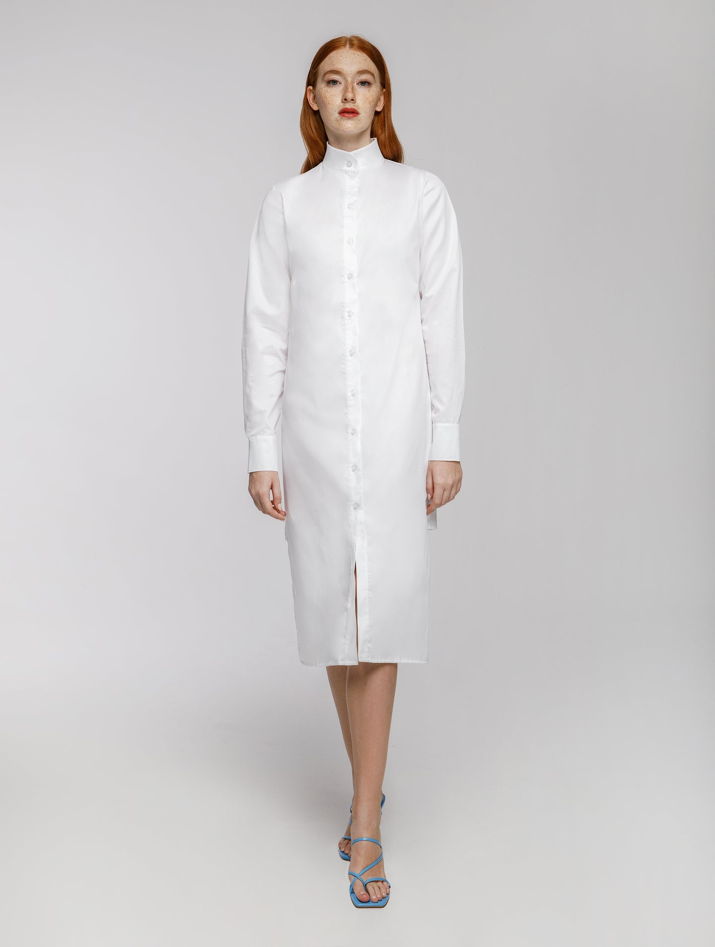 Asymmetric shirt dress with Mao collar in White and Black