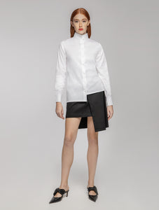 Assymmetric Shirt with Mao Collar in White