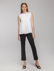White half pleated top