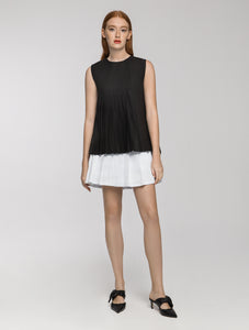 Black half pleated top