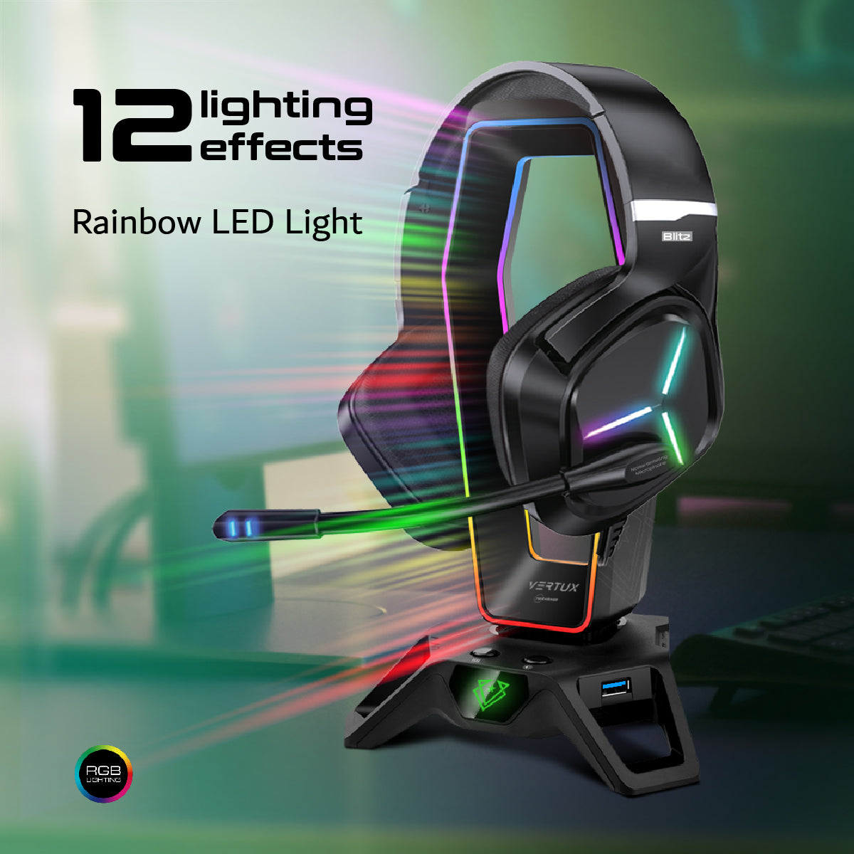 Gaming Headphone Stand with Immersive 7.1 Audio Ports