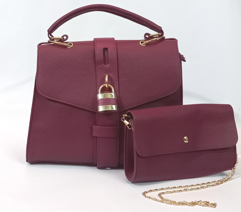 Purple Hand Bag with Clutch