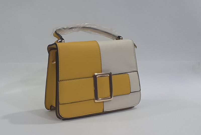 Striped Hand Bag with Mustard & White Color