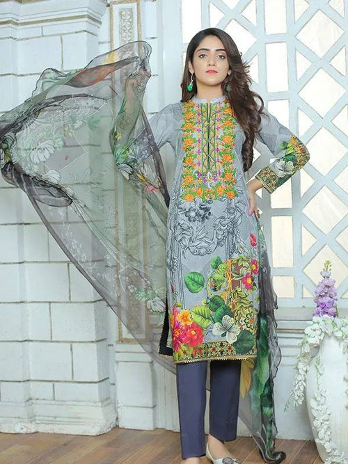 Embroidered Premium Lawn – Un-stitch 2 Piece - MulberryFeel
