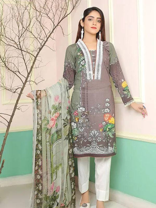 Digital Printed Lawn – Un-stitch 2 Piece - MulberryFeel