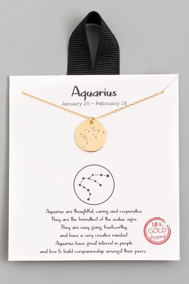 Aquarius Zodiac Sign Necklace - Gold