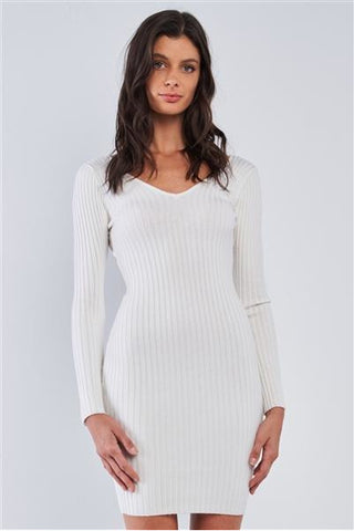 Gotta Have It Ribbed Sweater Dress - Ivory