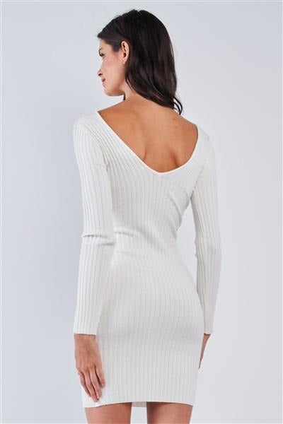 Gotta Have It Ribbed Dress - Ivory