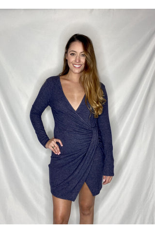 Never Forget Long Sleeve Twist Dress - Navy