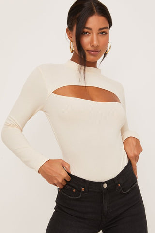 Tempt Me Long Sleeve BodySuit - Ivory