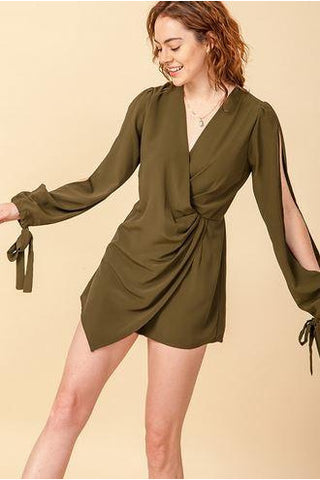 At Ease Long Sleeve Romper - Olive