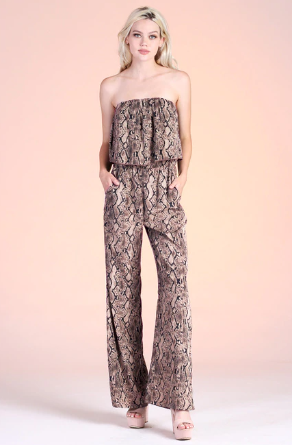 Watch Her Go Snake Print Jumpsuit - Taupe