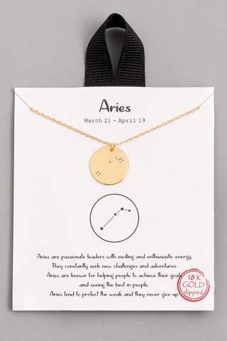 Aries Zodiac Sign Necklace - Gold