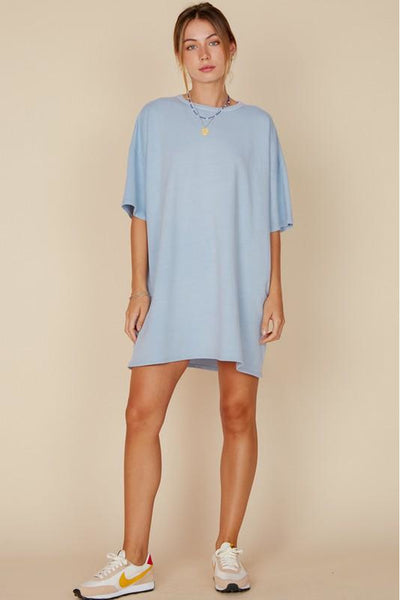 How Does a Moment Last Forever T-Shirt Dress - Blue