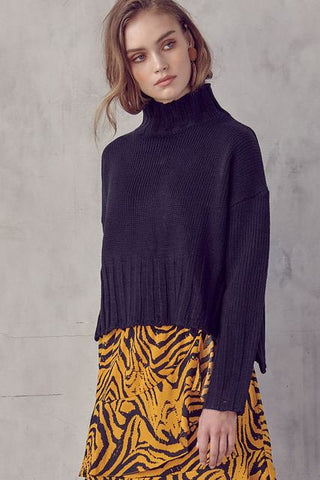 Always and Forever Turtleneck Sweater - Black