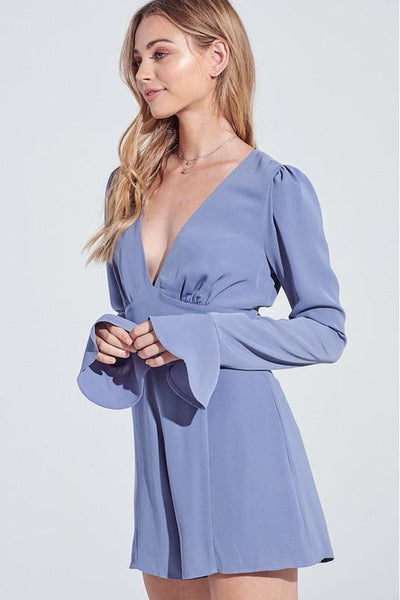 Blue Belle Long Sleeve Romper - Blue