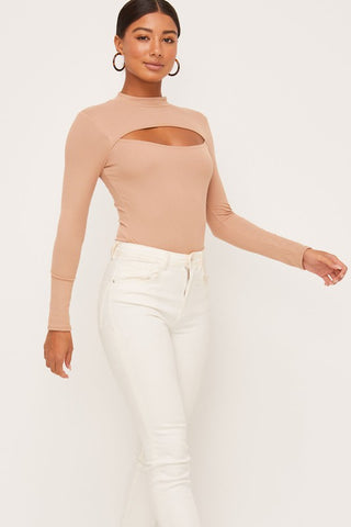 Tempt Me Long Sleeve BodySuit - Camel