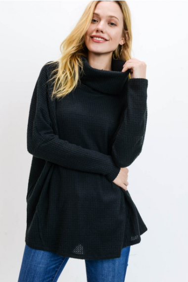 Tell Me About It Thermal Cowl Neck Top - Black