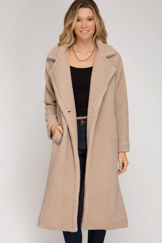Run The Show Midi Sherpa Coat - Light Mocha