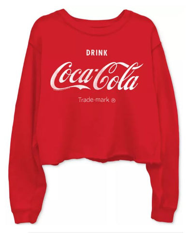 Junk Food Coca-Cola Cropped Raw Edge Sweatshirt - Red