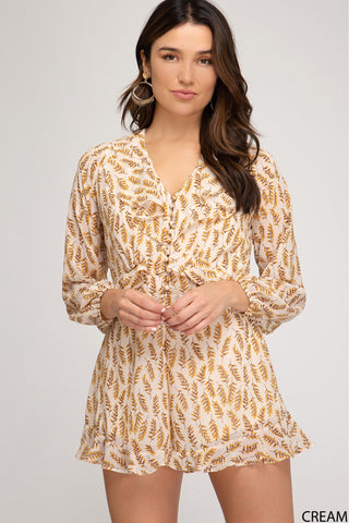 Ruffle My Feathers Long Sleeve Romper - Cream