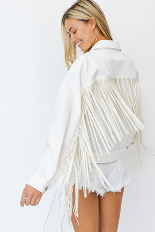 Cowboy Take Me Away Fringe Jacket - White