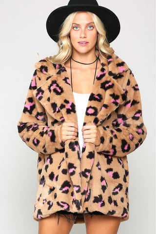 Hear Me Rawr Faux Fur Jacket - Leopard