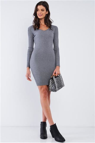 Gotta Have It Ribbed Sweater Dress - Grey