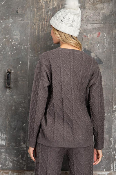 Let's Stay In Cable Knit Sweater - Gray
