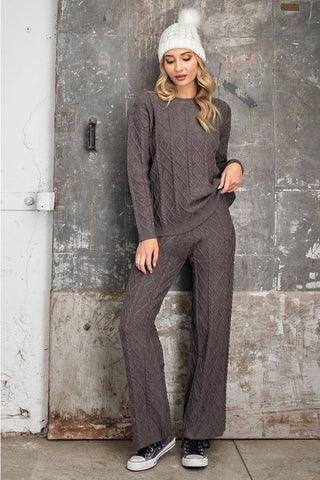 Let's Stay In Cable Knit Pant- Gray