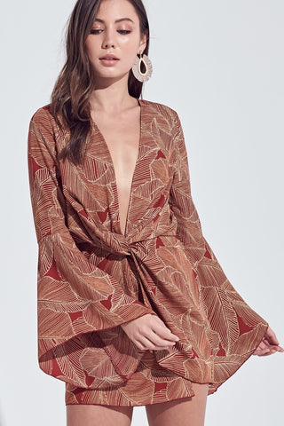 Hawaiian Nights Long Sleeve Dress - Brown