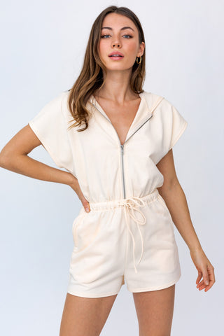 Let's Go To The Beach Hoodie Romper - Ivory