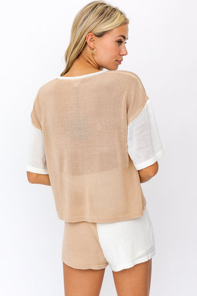 Days Of Summer Color Block Shirt - Taupe