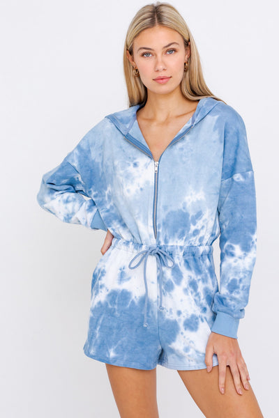 On Cloud Nine Tie Dye Hoodie Romper - Blue