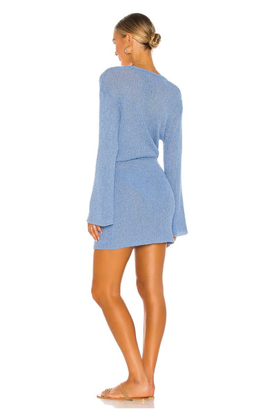 L*SPACE Topanga Long Sleeve Cover-up Dress - Cornflower
