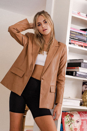 Boss Babe Leather Blazer Jacket - Camel
